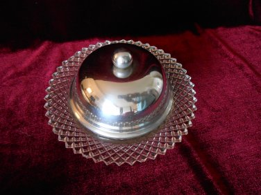 Clear Depression Glass Covered Butter or Cheese Tray Diamond Pattern Miss America