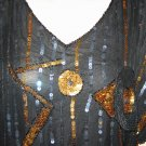 Vintage Lightweight Gold & Black Sequin Blouse