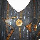 Vintage Lightweight Gold & Black Sequin Blouse