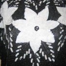 Vintage Black and White Sequined Blouse - Flower Design