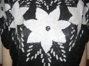 Vintage Black and White Sequined Blouse - Flower Design