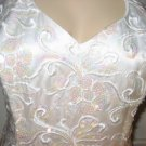 Alyce Designs White Sequined/Embroidered Gown