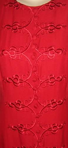Ann Tobias Red Soutache Embroidered Tea Length Gown