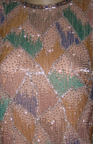 Victoria Regal Ltd. Beaded/Stoned Peach Cocktail Dress