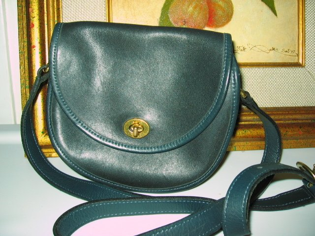 3.	AUTHENTIC COACH BLUE ROUND WOMEN'S PURSE HANDBAG BAG LEATHER GENUINE BLACK