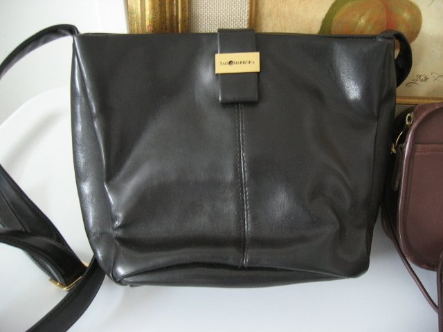 24.	SAG HARBOR BLACK WOMEN'S BLACK LEATHER-LIKE PURSE HANDBAG BAG