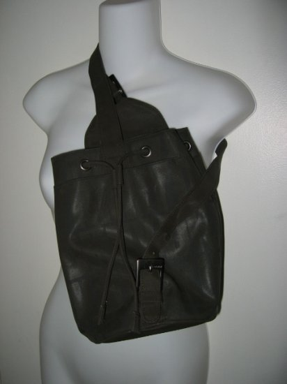 DKNY gray brown donna karan new york MICROFIBER BAG SCHOOL WOMEN'S BAG BACKPACK HANDBAG PURSE
