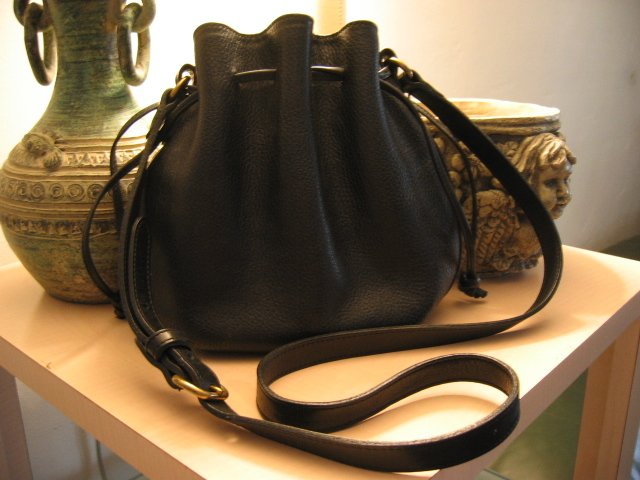 AUTHENTIC BLACK PEBBLE NUBUCK LEATHER COACH DRAWSTRING BUCKET BAG WOMEN'S HANDBAG PURSE #13