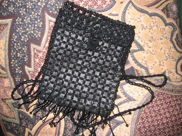 SOLD - BLACK BEADED PARTY EVENING PURSE FRINGES women's handbag bag beautiful FLIRTY SEXY