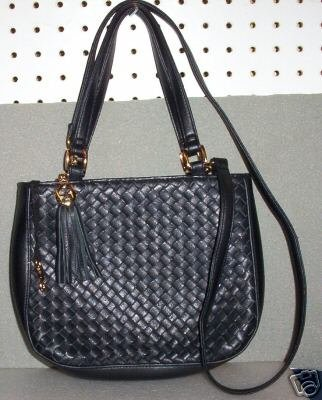 AURIELLE CHECKER LEATHER women's bag handbag purse - black