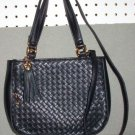 AURIELLE CHECKER LEATHER women&#39;s bag handbag purse - black
