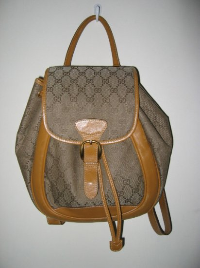 SOLD --- AUTHENTIC GUCCI BACKPACK GENUINE LEATHER WOMEN'S BAG HANDBAG PURSE SIGNATURE