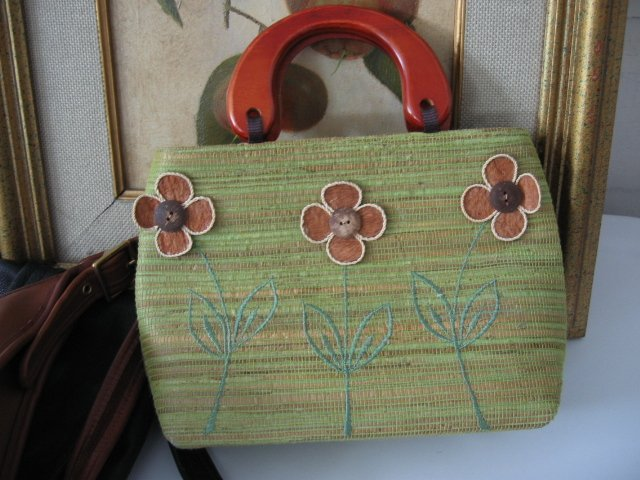 ETHNIC BALINESE STRAW BAG MINTY GREEN FLOWER DESIGN WOMEN'S BAG HANDBAG PURSE