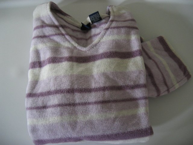 CLOTHES WOMEN'S FLANNEL SWEATER TOP SHIRT So purple/white stripe L ladies