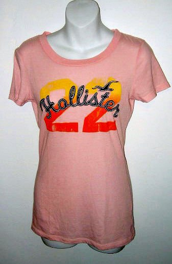 HOLLISTER SHIRT T-SHIRT PINK AUTHENTIC Sz L LONG BODY FIT WOMEN'S GIRL'S JUNIORS CLOTHES