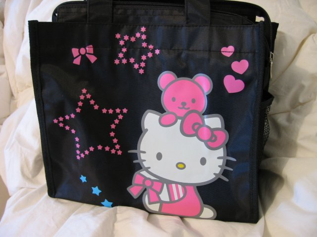 sold - HELLO KITTY LUNCH BAG TOTE black WOMEN'S KIDS ACCESSORY PICNIC PURSE BAG