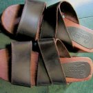 CANDIES WOMEN'S BROWN strappy strap LEATHER SANDALS wooden CLOGS SHOES SZ 8.5 VINTAGE