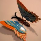 GARDEN BUTTERFLY handpainted ORANGE BLUE STICK FLOWER HOME DECOR