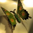 GARDEN BUTTERFLY handpainted GREEN STICK FLOWER HOME DECOR