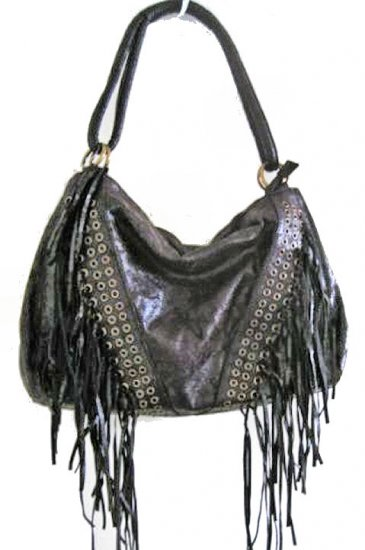 NEW INDIAN FRINGE HOBO LARGE suede faux leather like BIKER WOMEN'S BAG HANDBAG PURSE SOHO tassle