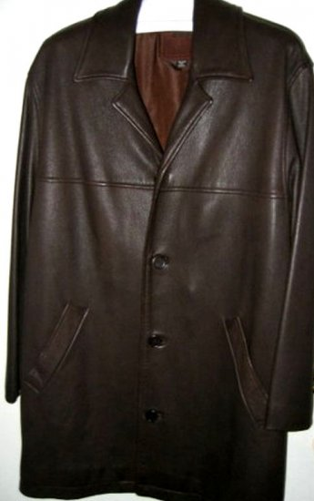 AUTHENTIC COACH MEN'S LEATHER JACKET coat blazer SZ L brown CLOTHES clothing SUIT SHIRT party