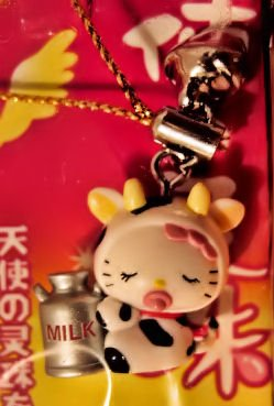 SOLD - milk cow HELLO KITTY CHARM CELL PHONE ACCESSORY IPOD CHAIN NECKLACE DECORATIVE COLLECTIBLE