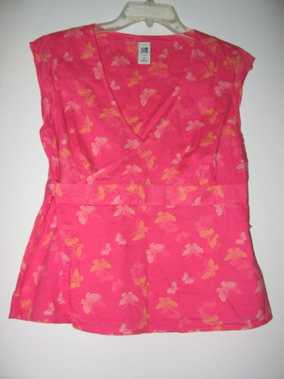 OLD NAVY PINK sz M butterfly KIMONO TOP SHIRT T-SHIRT TANK WOMEN'S CLOTHES