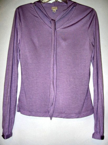 SOLD - PURPLE MERONA sz M BOW TIE SCARF TOP SHIRT T-SHIRT WOMEN'S CLOTHES OFFICE FORMAL DRESSY