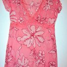 PINK FLORAL LACE SHEER TOP SZ M WOMEN'S CLOTHES SHIRT T-SHIRT SEXY