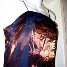 SZ L FORMAL spaghetti strap EVENING GOWN DRESS WOMEN'S CLOTHES SPARKLY gold copper