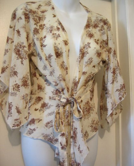 SHEER creme FLORAL KIMONO TOP SHIRT T-SHIRT WOMEN'S CLOTHES country sexy sex lingerie flirty