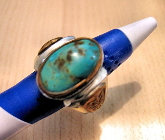 sold - MEN'S WOMEN'S JEWELRY VINTAGE TURQUOISE RING rings BRASS NICKEL WATCH ACCESSORY