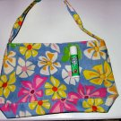 BLUE CANVAS FLORAL TOTE WOMEN'S ACCESSORY BAG PURSE HANDBAG SO CUTE makeup bag