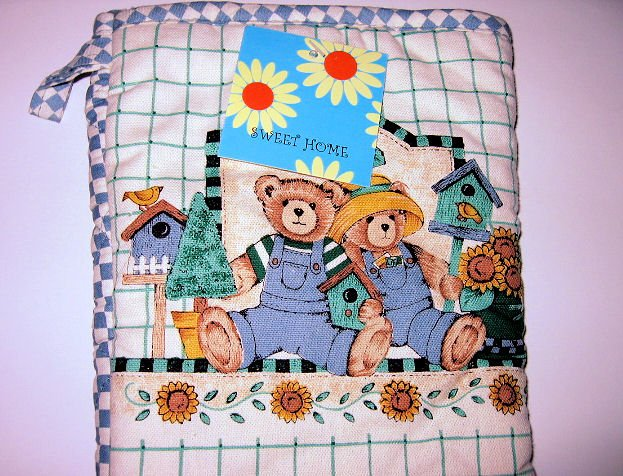 GARDEN BEAR OVEN MIT birdhouse sunflower home GLOVE MITTEN KITCHEN WOMEN'S ACCESSORY BAKING COOKIES
