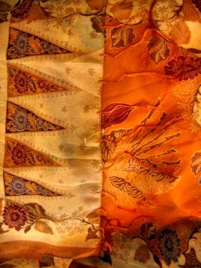 brown batik ethnic floral scarf shawl women's clothes accessory see-through party sheer