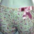 sz M mesh pink bow floral boy short underwear panties women's lingerie