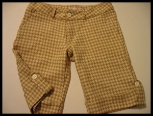 tosca CHECKERED CAPRI CAPRIS PANTS SHORTS CREME TAN WOMEN'S CLOTHES JUNIORS TWILL sz S