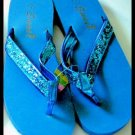 SALE - BLUE new SUMMER BEACH SWIMMING glitter SANDALS FLIP FLOPS WOMEN'S KID'S GIRL'S SZ 7