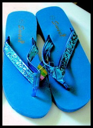 SALE - BLUE new SUMMER BEACH SWIMMING glitter SANDALS FLIP FLOPS WOMEN'S KID'S GIRL'S SZ 7