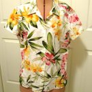 TOMMY BAHAMA LINEN vintage floral Print Shirt L orchid hawaii women's clothing top blouse t-shirt