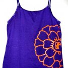 PURPLE orange flower CAMISOLE TANK TOP WOMEN'S T-SHIRT STRETCH BEAUTIFUL SZ L