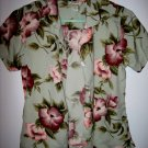 VINTAGE TOMMY BAHAMA HAWAII PASTEL GREEN PINK FLOWER TOP SHIRT BUTTON UP WOMEN'S clothes XS SILK