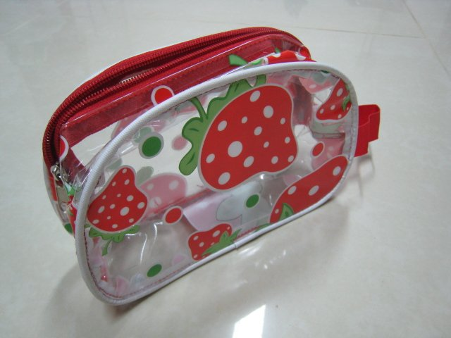 cute strawberry makeup clear transparent pouch bag women's accessory gift beauty products