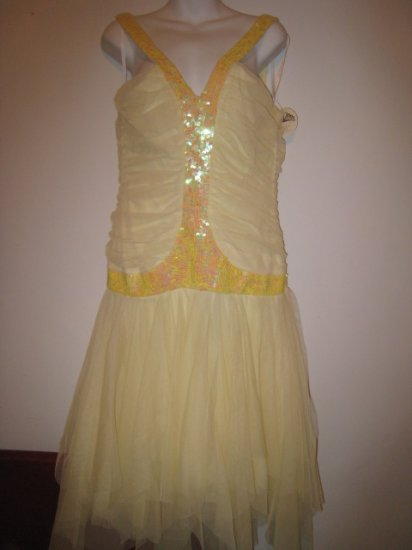 yellow ballerina WINDSOR sequin v-neck dress rouching junior's winter ball dress clothes top skirt