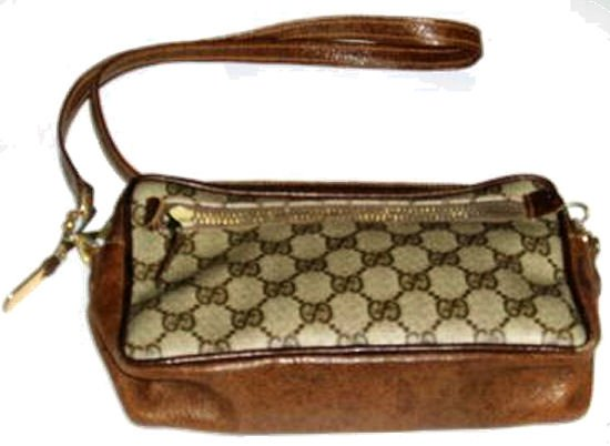 Small Vintage GUCCI brown signature shoulder bag authentic leather purse handbag women's accessory