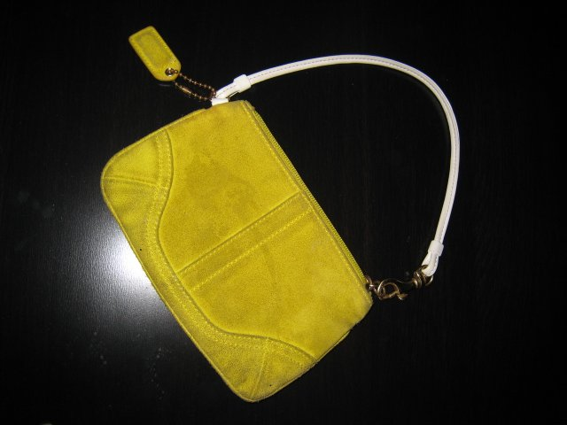 AUTHENTIC COACH SMALL YELLOW SUEDE leather ipod case PURSE handbag bag women's accessory