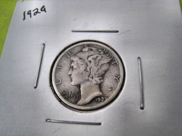 SILVER MERCURY DIME 1929 EXCELLENT MONEY U.S. COIN PAPER HOBBY HOME GARDEN