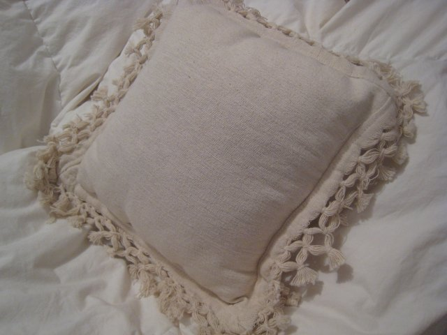 CONTEMPORARY PILLOW TWILL OFF WHITE LACE HOME BED DECOR SOFA