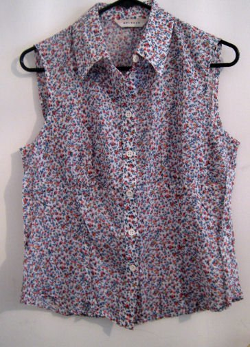 SALE floral sleeveless button up shirt top linen cotton women's clothes small country MELROSE