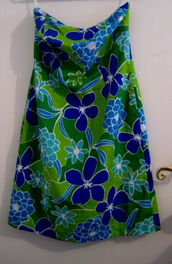 STRAPLESS DRESS SZ 5 TUBE TOP JUNIOR'S WOMEN'S CLOTHES CLOTHING BLUE GREEN CLUB WILD